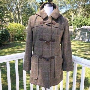 Anne Klein Wool Toggle Pea Coat Plaid Herringbone